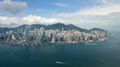 Aerial view over Victoria Peak, Hong Kong, China Stock Footage