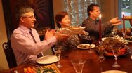 Stock Video Footage of Christmas Dinner with gourmet roast