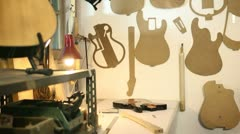 Inside view of guitar workshop Stock Footage
