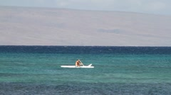 outrigger canoe, Lanai, Hawaii - stock footage