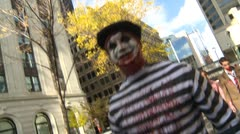 Zombie walk, undead mimes Stock Footage