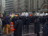 Stock Video Footage of Police line stops Protest March progress.
