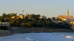 Mediterranean coast of Jaffa with St. Peter's Church in Israel Stock Footage