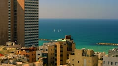 Panoramic of the Mediterranean and Tel Aviv Stock Footage