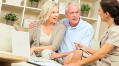 Senior Couple Financial Meeting at Home - stock footage