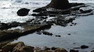 Ancient coastal pool ruins Stock Footage