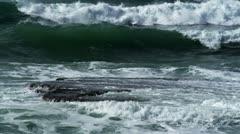 Mediterranean waves on ruins Stock Footage