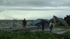 Flood Waters Destroy Slum In Manila Philippines Stock Footage