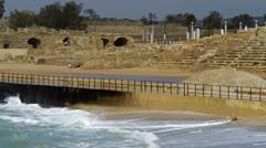 Caesarea and waves Stock Footage
