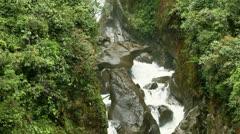 Vertical panning over Pailon del Diablo waterfall in Ecuador Stock Footage