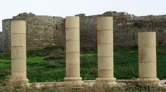 Columns at Caesarea Stock Footage
