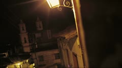 Town Street by night Stock Footage