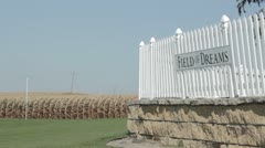 Stock Footage - Field of Dreams - Fence, sign and corn field - Iowa Stock Footage