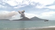 Stock Video Footage of Tropical Beach And Erupting Volcano