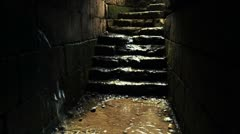 An ancient tunnel filling with water Stock Footage
