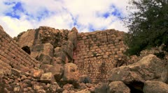 Panorama of a Nimrod Fortress wall Stock Footage