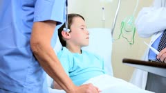 Young Caucasian Boy Having Hospital Treatment - stock footage