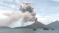 Krakatau Volcano Erupts Near Fishing Boats Stock Footage