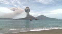 Tropical Beach And Erupting Volcano Stock Footage