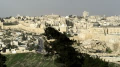 Panorama of Old Jerusalem from Mt. of Olives Stock Footage
