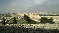 Panorama of Jewish Cemetery and Old Jerusalem filmed in Israel at 4k with Red. Stock Footage