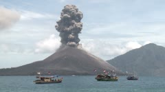 Krakatau Volcano Erupts Near Fishing Boats Stock Footage