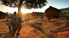 Kids near a village in Kenya. Stock Footage