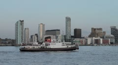 Mersey Ferry and Liverpool skyline in late evening Stock Footage