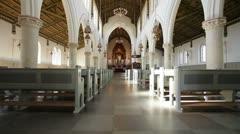 Interior view of a church in Copenhagen, Denmark. Stock Footage
