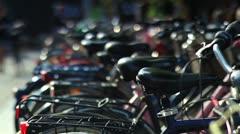 Bicycle rack on a street in Copenhagen, Denmark. Stock Footage