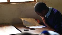 Testing in a classroom in a school in Kenya. - stock footage