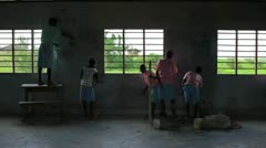 The inside of a school being painted in Kenya. Stock Footage