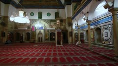 The prayer hall at Jezzar Pasha Mosque in Israel. Stock Footage