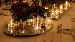 Elegant  dinner table setting HD 1080p Stock Footage