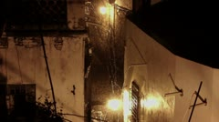 Heavy Rain in small Alley Stock Footage