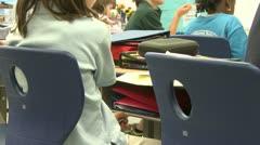Grammar school students sitting in classroom (4 of 6) - stock footage