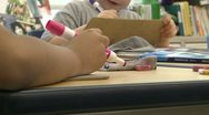 Grammar school student using Magic Markers (6 of 8) Stock Footage