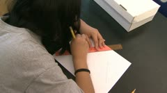 Grammar school students doing work in classroom (8 of 9) Stock Footage