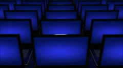 Computers with blues screens in a rows Stock Footage