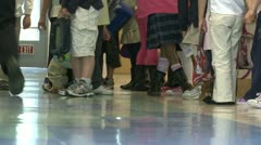 Grammar  school students lining up in the hall (1 of 2) - stock footage