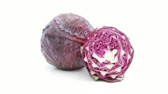 Red cabbage rotating on white Stock Footage