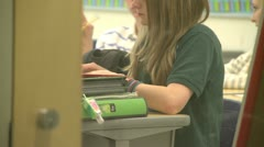 Grammar school student thumbing through a book - stock footage