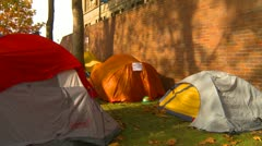 Protest, Occupy (Wall-Street) Seattle tent sign future middle class home Stock Footage