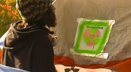 Protest, Occupy (Wall-Street) Seattle tent camp zoom Stock Footage