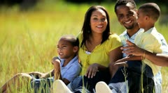 Portrait of Happy Ethnic Family in Park - stock footage