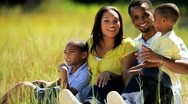 Portrait of Happy Ethnic Family in Park Stock Footage