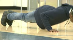 Stock Video Footage of Middle school student doing push ups