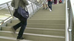 Middle school students using stairs (1 of 2) Stock Footage