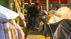 Protest, Occupy (Wall-Street) Seattle tent camp zoom - stock footage
