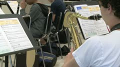 Students reading sheet music in class Stock Footage